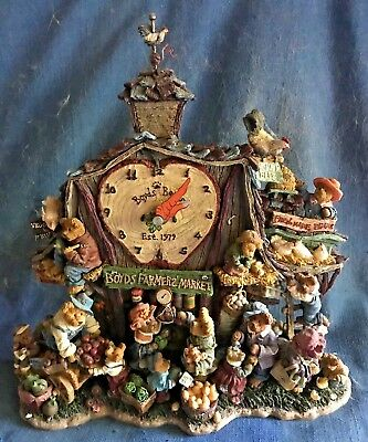 Boyds Bears Collectible Farmer's Market Clock Danbury Mint Works New in Box EXC