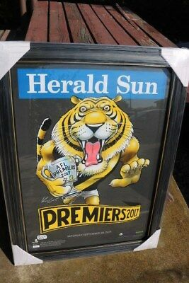 Afl Richmond Tigers Premiership Herald Sun   Black Knight   730/1000 Framed 2017