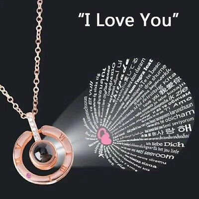 I LOVE YOU in 100 languages Pendant Necklace For Memory of LOVE Christmas Gif FG