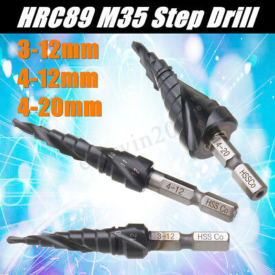 HRC89 M35 Cobalt Step Drill Bit 3-12/4-12/4-20MM TiAlN Coated 1/4 Inch Hex Shank