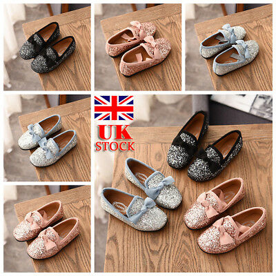 UK Kids Girls Sequin Bowknot Loafers Flat Slip On Pump Glitter Ballet Shoes Size