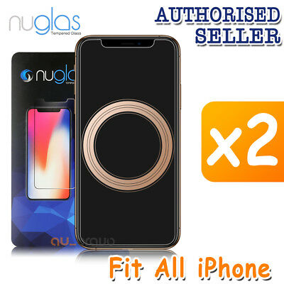 2x GENUINE NUGLAS Tempered Glass Screen Protector Apple iPhone XS Max XR 8 Plus