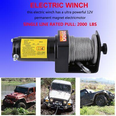 Heavy Duty 12V 2000LB Recovery Truck Boat Trailer Lifting Sling Electric Winch