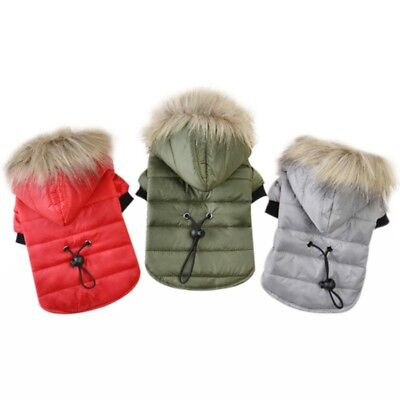 US Dog Hoodie Jacket Winter Warm Padded Coat Chihuahua Clothes Cat Puppy Outfit