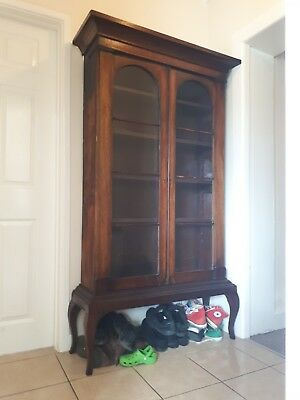 A Charming 19Th Century Glazed Mahogany Bookcase On Stand In Used Condition
