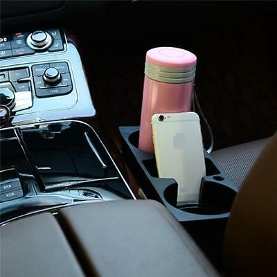 Auto Car Dual Cup Holder Van Storage Drink Bottle Can Mug Mount Stand Black FI