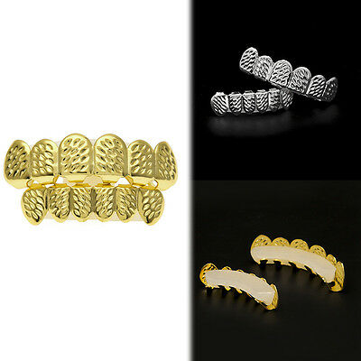 1x Hip Hop Grillz Set Top And Bottom Mouth Tooth Cap Bling Hip Hop Teeth Grills