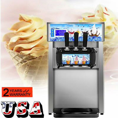 Commercial Soft Serve Ice Cream Machine 3Flavor Frozen Yogurt Machine Dessert