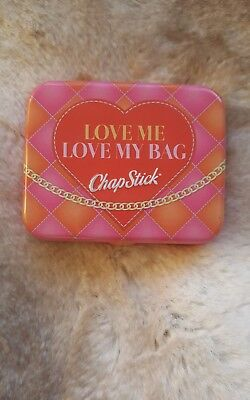 "Chapstick ""Love Me Love My Bag"" pink tin containing 3 chapsticks"
