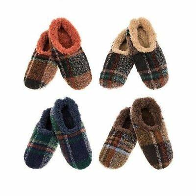 SNOOZIES! Men's Plaid Slippers/Foot Coverings with Non-Slip Sole 4 Colours S/M/L