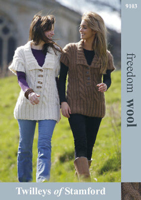 """Twilleys Knitting Pattern 9103 Cable Shawl Tunic 32-42"""" Super Chunky Ladies NEW"""