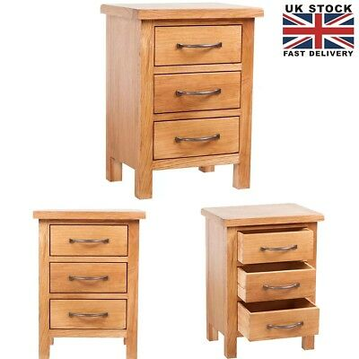 Wooden Bedside Table Nightstand Cabinet w / 3 Drawers 40 x 30 x 54 cm Solid Oak
