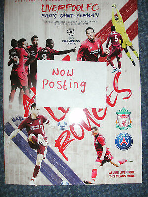 LIVERPOOL v PSG OFFICIAL PROGRAMME 18/9/2018 ( NOW POSTING )