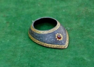 Ottoman mughal style Gold damascened Gem setted archer ring archery Qing dynasty