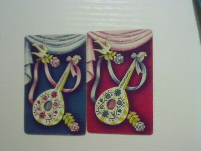 2 Swap/Playing Cards - Pair Floral Musical Instruments
