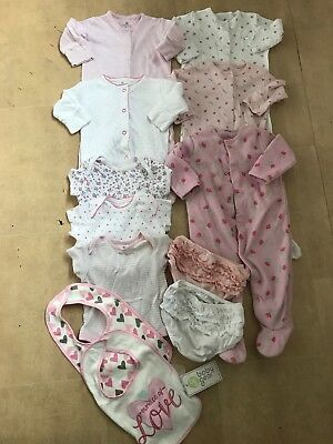 Girls Sleepsuit Baby Grow Knickers Bibs Vest Bundle Age 0-3 Months