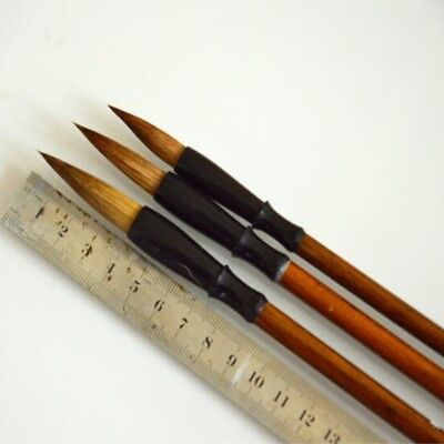 3x Wool Chinese Calligraphy Brush Pen Painting Ink Storage Writing Tool Nice D8Z
