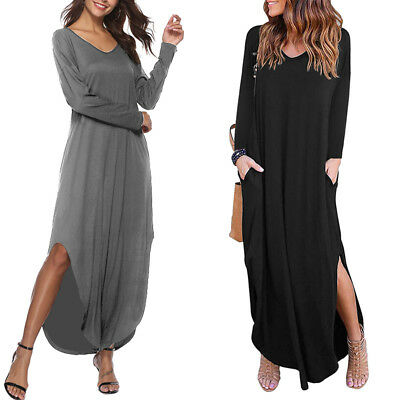 Women Plus Size Long Sleeve Maxi Kaftan Solid Basic Loose Sexy Club Party Dress