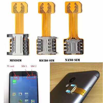 DUAL SIM CARD Adapter Converter Standby Flex Cable For