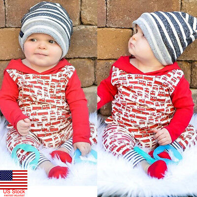US Newborn Baby Boy Girl Cotton Clothes Hooded Jumpsuit Bodysuit Romper Outfits