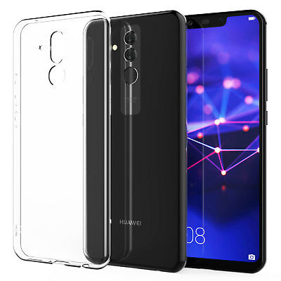 For Huawei Mate 20 Lite Clear Shockproof Slim TPU Cover Case Lens Tempered Glass