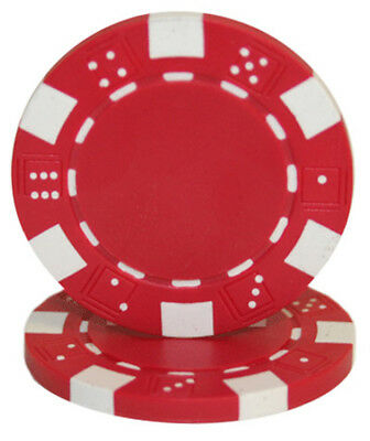 Striped Dice 11.5G poker chips - RED - 50 pieces