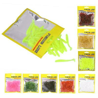 50 Grub Worm Curly Tail Mixed Soft Plastic Lure Jig Head Fishing Tackle Bait JE