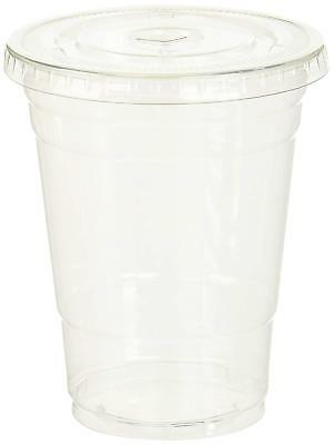 TashiBox Disposable Plastic Cups with Flat Lids, 100 Sets, 16 oz, Crystal Clear
