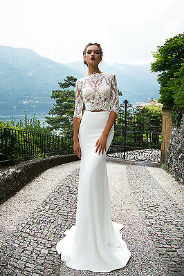 Two Piece Vintage Lace Wedding Dress 3/4 Sleeve Bridal Gowns Custom All Size