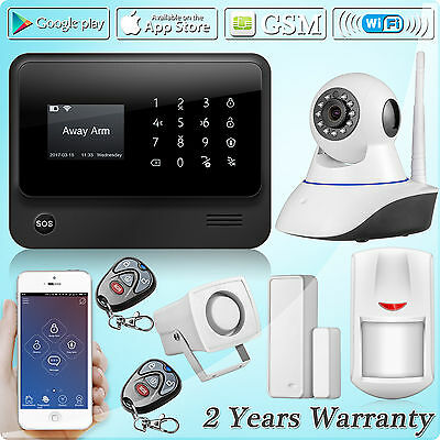 White G90B GSM Wifi SMS Wireless Home Security Alarm System Kit,720P IP Camera