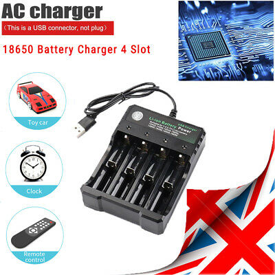 UK Battery Charger 4 Slot Universal Rechargeable 4.2V Li-ion For 18650 Batteries