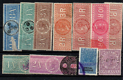 India QVic revenues Special adhesives small card of 11 stamps