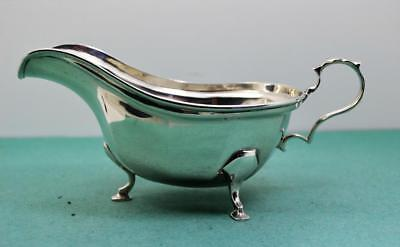 "fine sterling silver gravy boat C.W.F Sheffield 1936 hoof footed 139 gr 7"" x 3.5"
