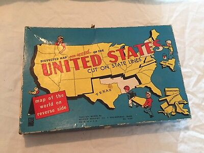 VINTAGE 1940s Milton Bradley Wooden MAP OF THE UNITED STATES Puzzle