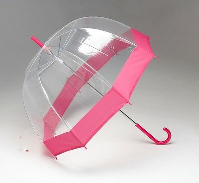 SET OF 10 x Wedding Umbrellas - Dome See Thru Clear/Cerise Design High Quality