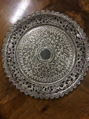 Foreign Silver Pierced Border Round Flat Dish