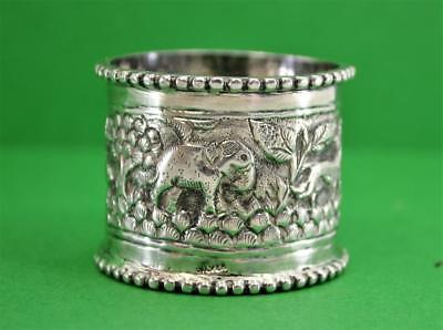 Vintage Indian / Asian hand worked Sterling silver Napkin ring Animals foliage