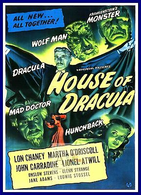 HOUSE of DRACULA classic film poster JOHN CARRADINE movie star 24X36 RARE