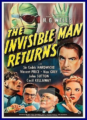 The Invisible Man Returns   1930's Movie Posters Classic & Vintage Cinema