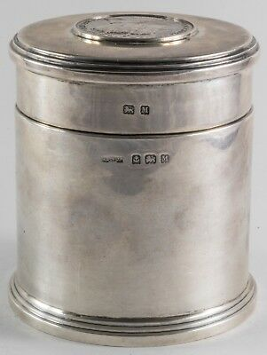 King George Medallion English Sterling Silver Tea Caddy