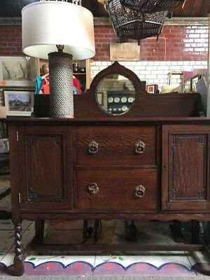 Reduced ..fabulous Antique Oak Mirror Backed Sideboard Pro Stripped & Repolished
