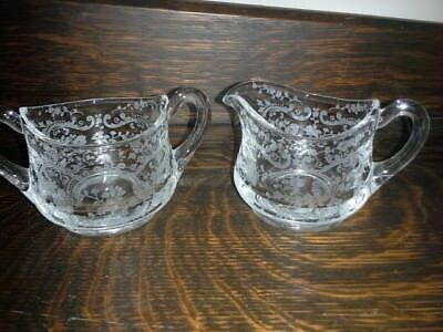Vintage Small Clear Cambridge Glass Sugar & Creamer Set Ornate Chantilly Pattern