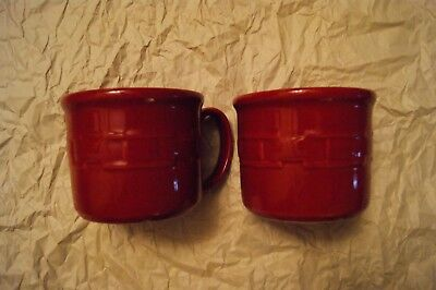 2 Longaberger Woven Traditions Souper Mug/Cup 16 oz. in Tomato - Preowned