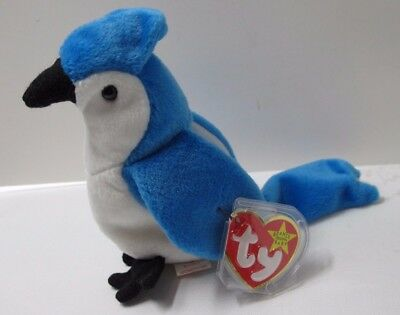 """Ty """"rocket"""" The Blue Jay Beanie Baby - Retired - With Errors"""