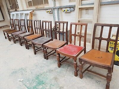 Set of 9 antique wooden chairs
