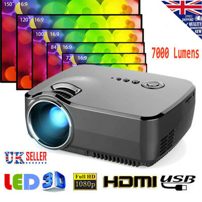 7000 Lumens Android 1080P 3D Home LED Projector Multimedia HDMI/USB/SD/VGA UK