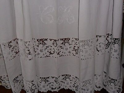 """Antique French pure linen sheet hand embroidered Richelieu.Mono """"C.M"""".Never used"""
