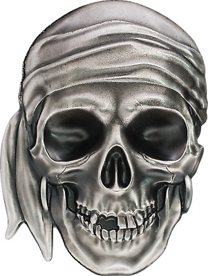 2017 Palau $5 PIRATE SKULL 1oz Silver Antique Finish Coin