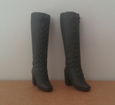 Barbie Doll Reproduction Squishy Boots Black Heeled Lace Up Boots Modern