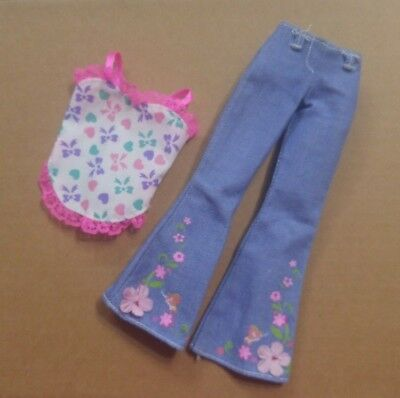 Barbie Doll Floral Flare Jeans Pants Summer Top Pink Lace Hearts Bows Design LN